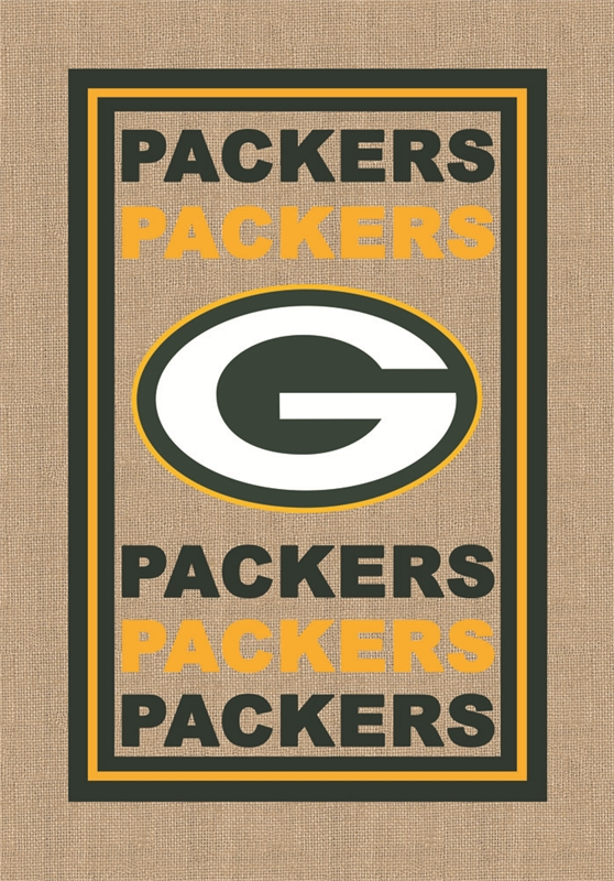 Green Bay Packers Burlap House Flag B