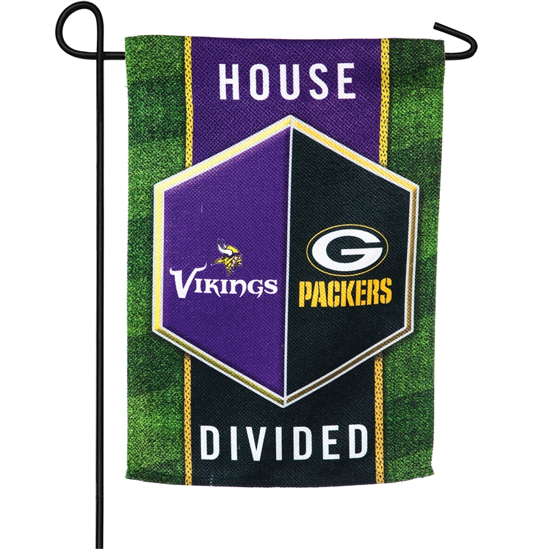 Packers and Vikings House Divided Garden Flag