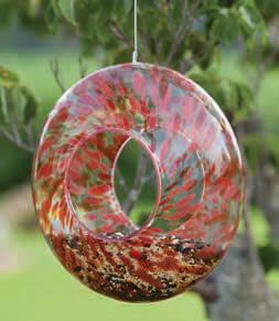 Glass Circle Feeder - Red
