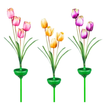 Solar Garden Stake with Artificial Tulips